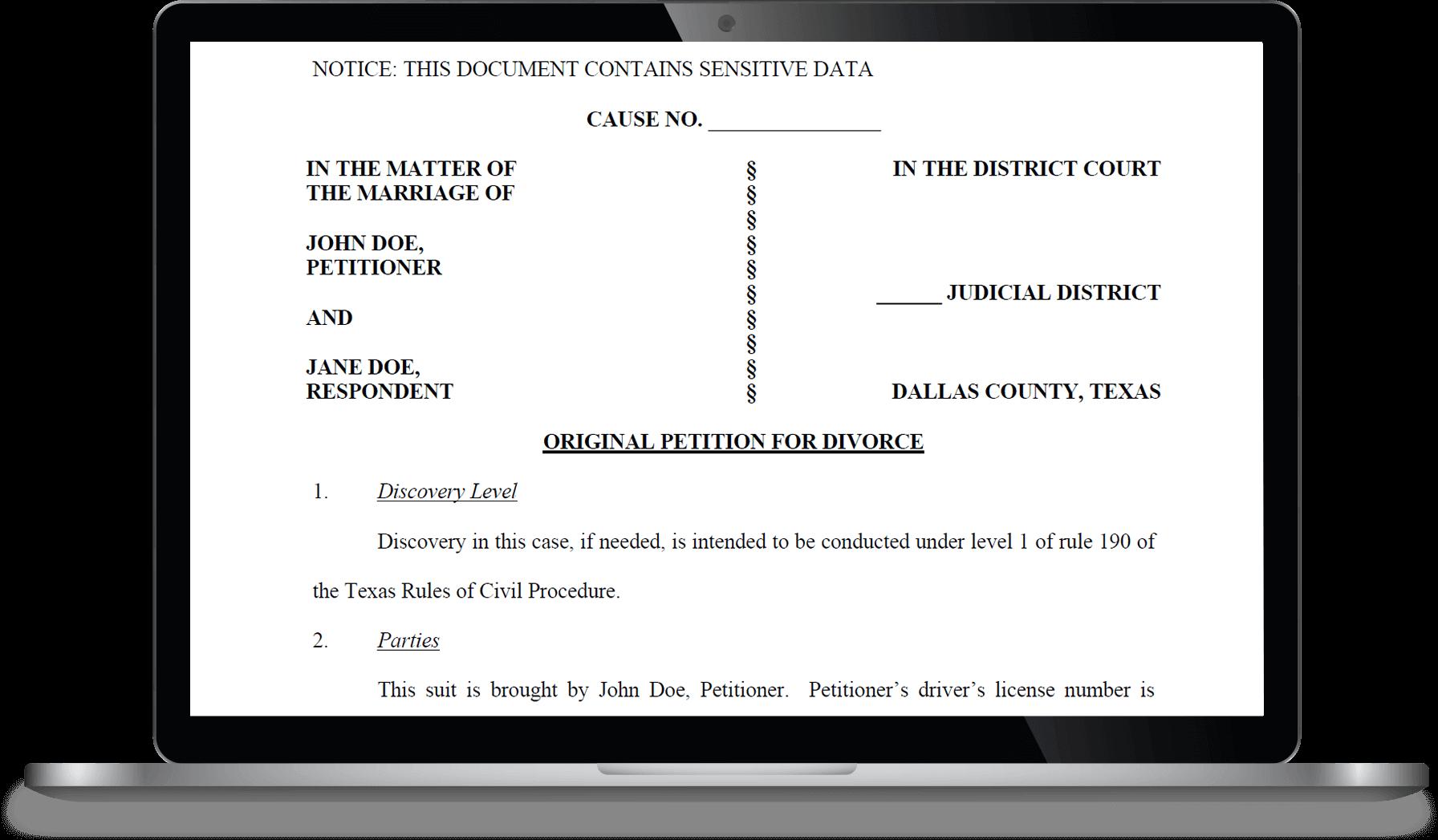 Sample Texas Divorce Petition